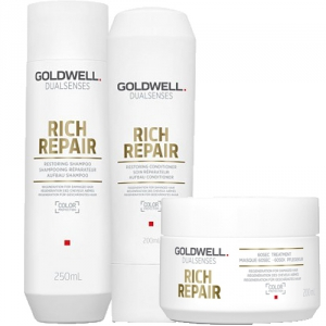 Goldwell Dualsenses Rich Repair Restoring Trio Shampoo + Balsam + Treatment i gruppen Kampanjer / Duo-pack / Goldwell Duo-pack hos ginos.se (Dual-spec-001-0004)
