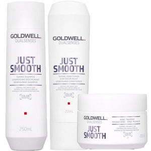 Goldwell Dualsenses Just Smooth Taming Trio Shampoo + Balsam + Treatment i gruppen Hårvård / Styling attribut / Lockar & friss hos ginos.se (GODLWJS1112)