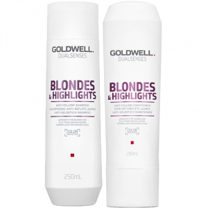 Goldwell Dualsenses Blondes & Highlights Anti-Yellow Duo Shampoo + Balsam i gruppen Hårvård / Styling attribut / Färgskydd hos ginos.se (GOLDWBH1111)
