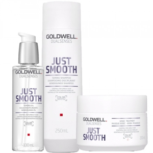 Goldwell Dualsenses Just Smooth Taming Trio Shampoo + 60sec Treatment + Taming Oil i gruppen Kampanjer / Duo-pack / Goldwell Duo-pack hos ginos.se (GWDS1118)