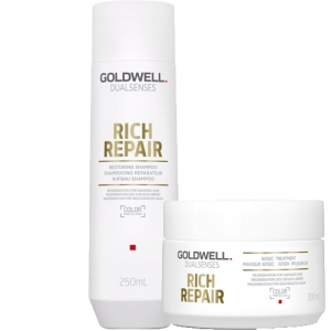 Goldwell Dualsenses Rich Repair Restoring Shampoo 250ml + 60sec Treatment Masque 200ml Duo i gruppen Kampanjer / Duo-pack / Goldwell Duo-pack hos ginos.se (GWDS1120)
